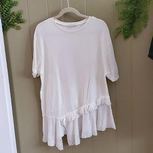 Zara tarfaluc creamy white tunic top size large